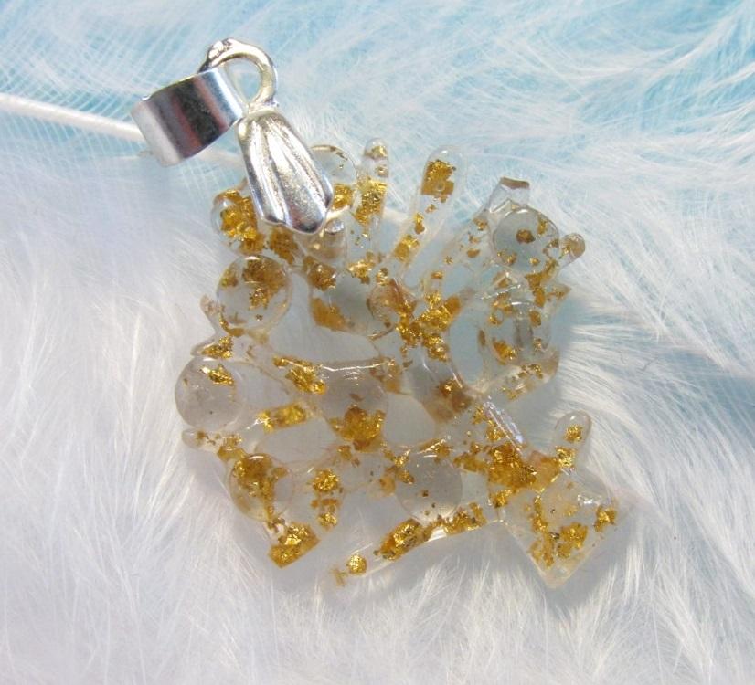 Orgonit - strom života se záhnědou a pravým plátkovým zlatem (strom života, orgonit, záhněda plátkové zlato)