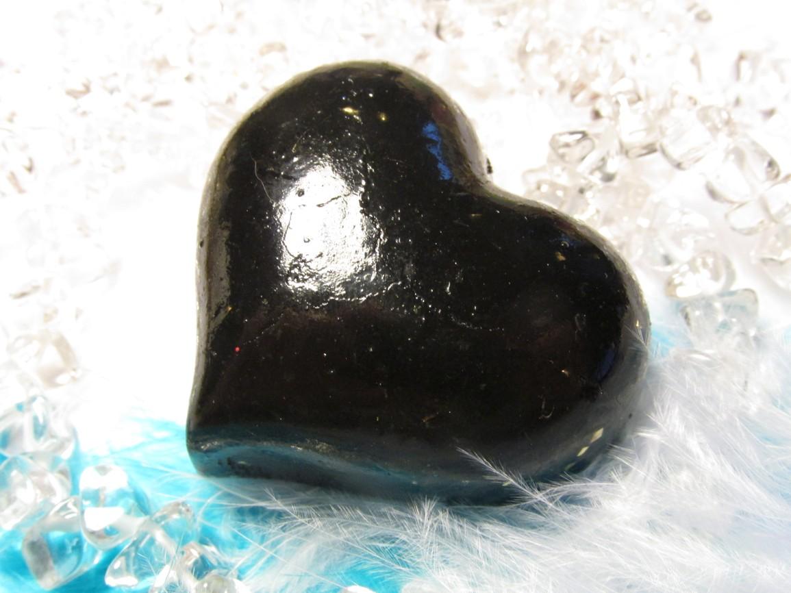 Orgonit - Velké srdce šungitové (orgonit, šungit, mosaz, křišťál)