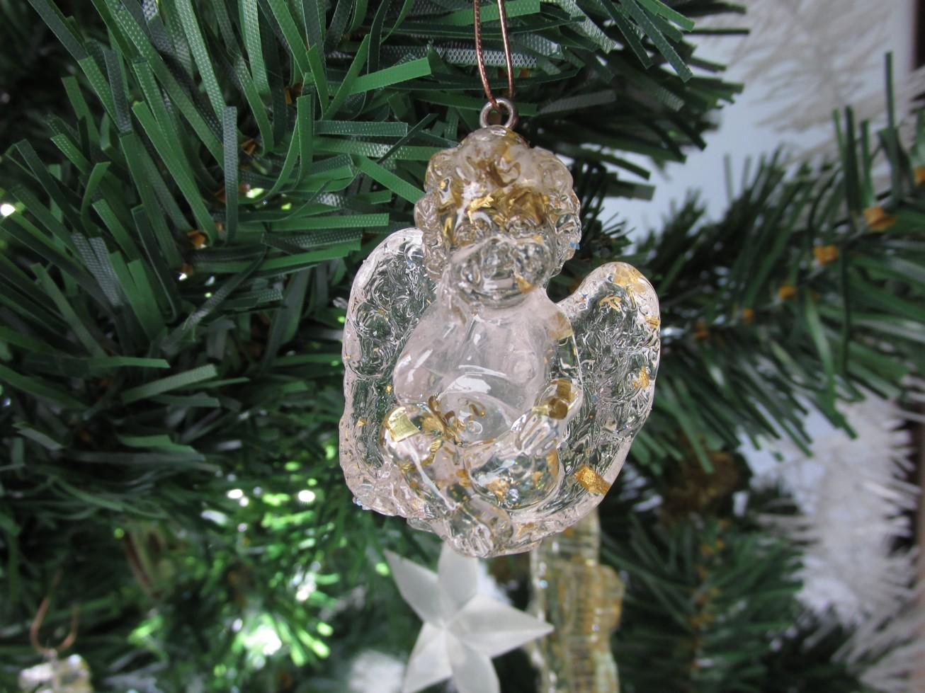 Orgonitový andílek s růženínem v bříšku (vhodný i jako vánoční ozdoba)