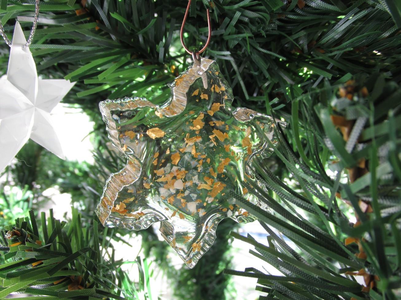 Orgonitová vánoční ozdoba s 24kt zlatem - hvězda velká II. (Velikost ozdoby 7x7cm)