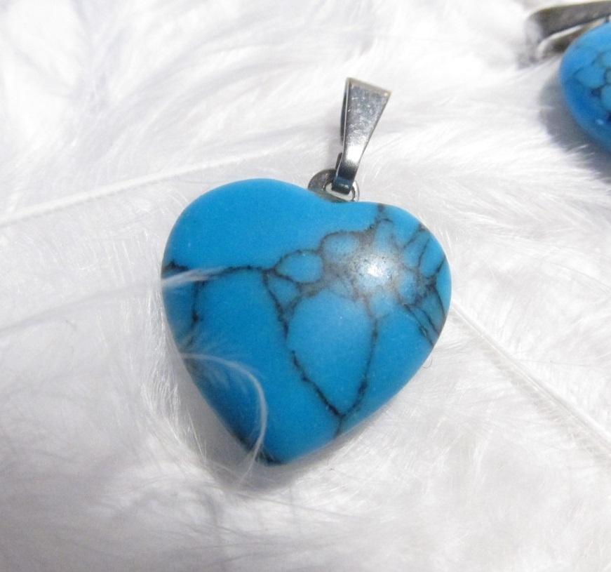 Srdíčko - Modrý howlit - přívěsek (perleť, srdce, modrý howlit)